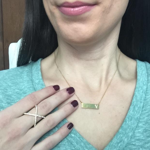 Crystal Mason Ring & Ice Initial Bar Pendant